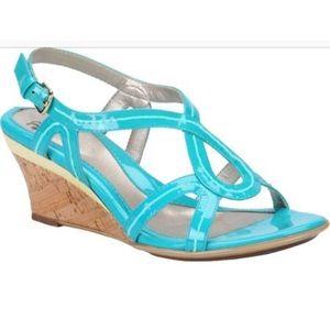 Sofft Patent Paharita Teal gold cork Wedge sandal
